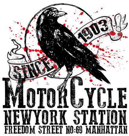 Vintage Motorcycle club logo graphic design for man t shirt