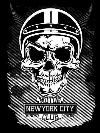 calavera: Motocicleta de la vendimia Nueva York tipograf�a, gr�ficos camiseta, vectores, cr�neo