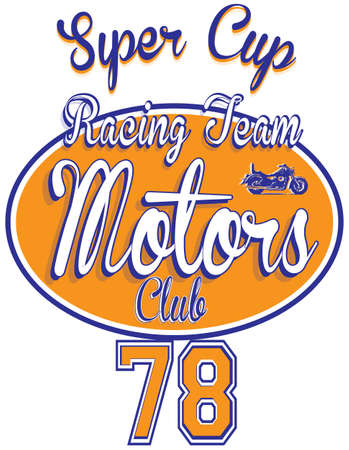 motors: Motorcycle racing typography, t-shirt graphics, vectors