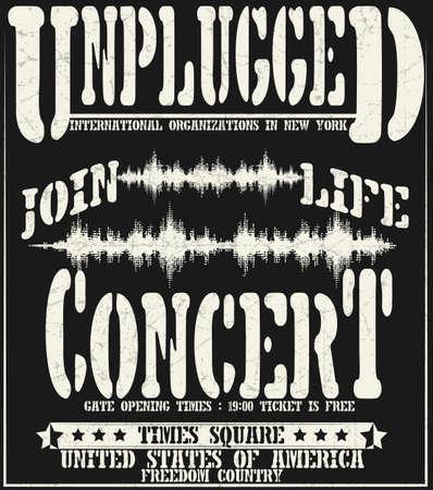 concierto de rock: Tipográfico concierto de la vendimia para la camiseta, camiseta de diseño, cartel, vector