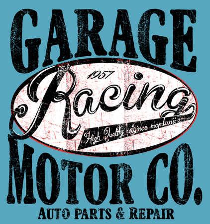 Garage Car Repair Trucks typography, t-shirt graphics, retro, vector