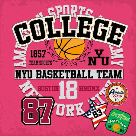 Sport college training typography, t-shirt graphics, vectors Stock Illustratie