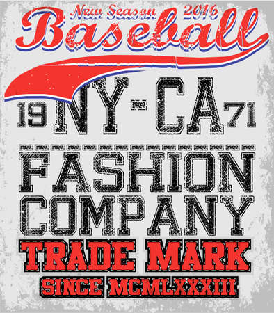 warlike: College baseball team badge in retro style. Graphic design for t-shirt. Black and red print on a white background Illustration
