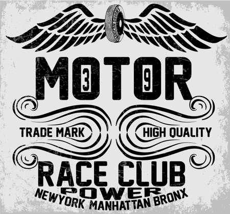 motorcycle road: Newyork manhattan bronx motorcycle typography, t-shirt graphics, vectors, vintag Illustration