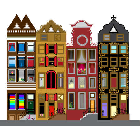 dutch: Vector set of houses in the Dutch style. Different color and shape old houses. Facades of houses in the traditional Dutch style. Illustration
