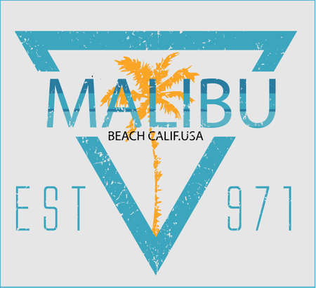 malibu: Vintage Malibu beach sport typography; t-shirt graphic; vector illustration