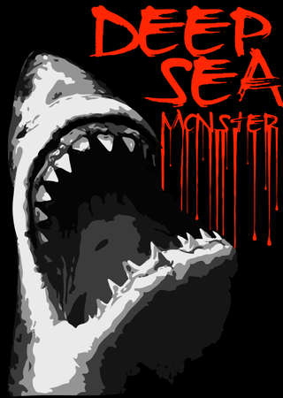 t shirt blue: Shark attack poster graphic design