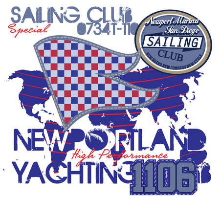 t shirt blue: Yachting club , Grunge vector artwork for sportswear in custom colors Illustration