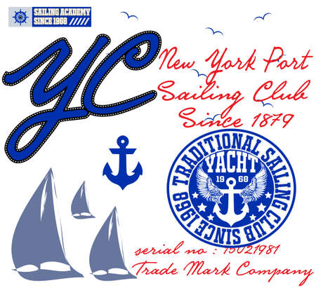 yachting: Yachting club; Grunge vector artwork for sportswear in custom colors