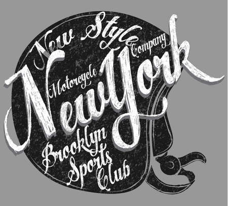 Motorcycle Helmet Typography New York Sports Club Иллюстрация