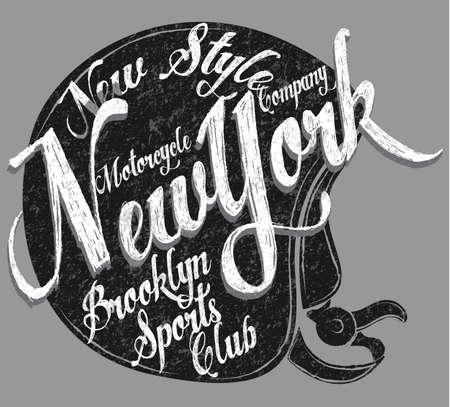Motorcycle Helmet Typography New York Sports Club Illustration