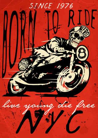 Ilustración motocicleta camiseta diseño gráfico Foto de archivo - 51294788