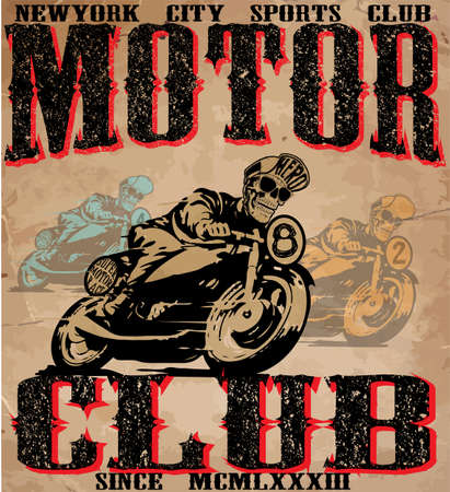 vintage cafe: motorcycle illustration tee shirt graphic design