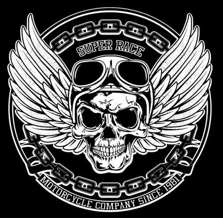 Cráneo del motorista de la vendimia del emblema de la camiseta gráfica Ilustración de vector