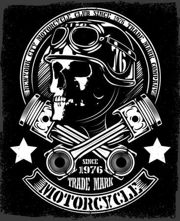 flame alphabet: Vintage Biker Skull With Crossed Piston Emblem Illustration