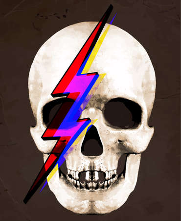 Tee Graphic  Illustration of Skull David Bowie Illustration