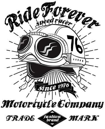 Print design: Tee Vintage Motorbike Race | Hand drawing | T-shirt Printing | Badge Applique Label