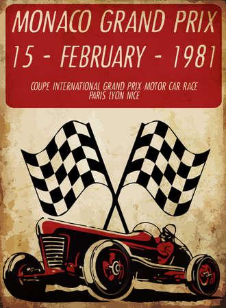 printing.vector 古い学校レース poster.retro レース車用ビンテージ レース車セット  イラスト・ベクター素材