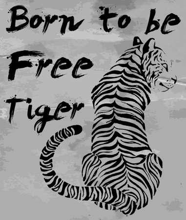 tigre camiseta consignas del diseño gráfico del vector
