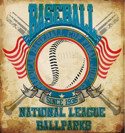 Honkbal Amerikaanse sporten Tee Graphic Design Stock Illustratie