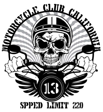 Tee graphic design motorcycle man white background Illustration