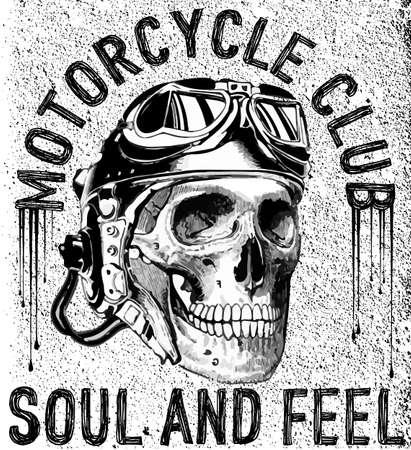 T-shirt schedel motorfiets grafisch ontwerp Stock Illustratie