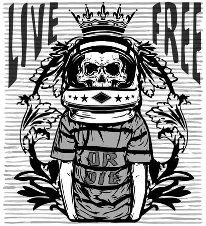 fashion design: Tee graphic skull astronaut man white background