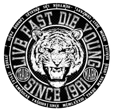 Tee grafisch ontwerp logo dier tiger Stock Illustratie