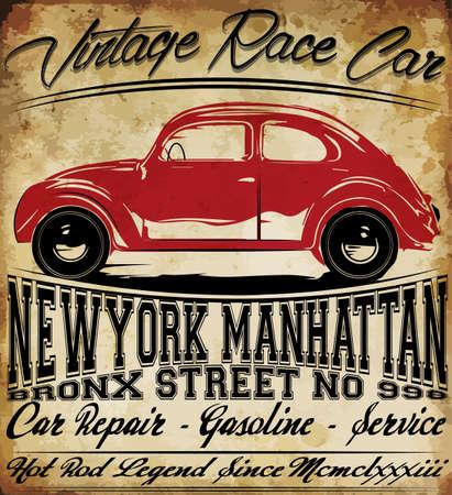 Homme T-shirt Old Vintage Classic Car Retro Graphic Design Banque d'images - 52881425