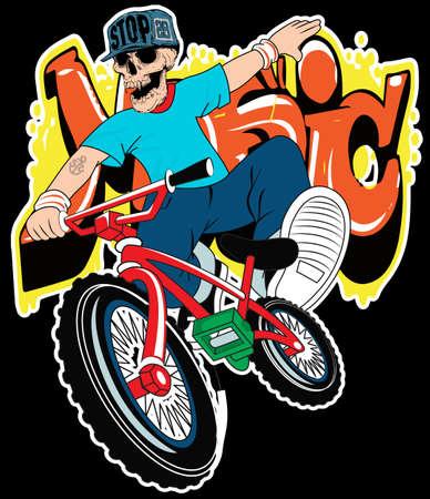 zapatos caricatura: niño de cráneo en una bicicleta sobre un fondo blanco