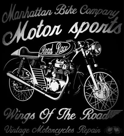 Vintage motorfiets hand getrokken vector