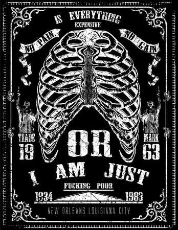 Diseño esquelético del arte gráfico camiseta del detalle del cartel Foto de archivo - 53042421