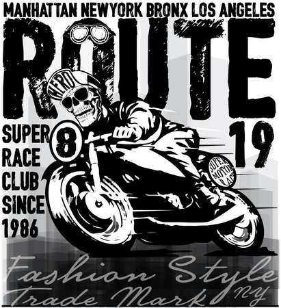 leather coat: skull ride a classic motorcycle