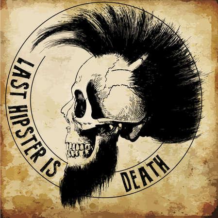 graphics: skull illustration  a mark of the danger warning  T-shirt graphics  cool skull illustration Illustration