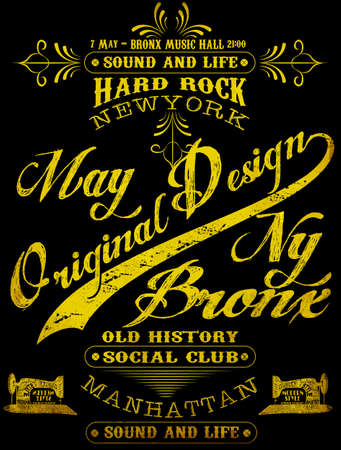 western script: Vintage New York City Logo T shirt Graphic Design