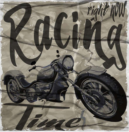 Legendary vintage racers t-shirt label design with racer and motorcycle hand drawn ilustration on dusty background Vector Illustration