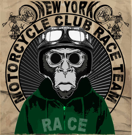 vintage cafe: Vintage Motorcycle vector Set.skull riders motorbike vector set Illustration