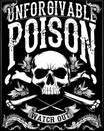 crâne print / crâne illustration / crâne mal / affiches de concert / crâne impression sur toile / tatouage de crâne / art de crâne / crâne aquarelle / crâne vecteur grunge noir / crâne humain sur fond blanc isolé Graphics / T-shirt