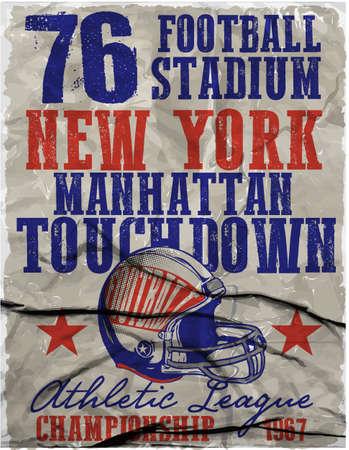 アメリカン フットボール - カスタム カラーで少年スポーツではビンテージ ベクトル印刷します。