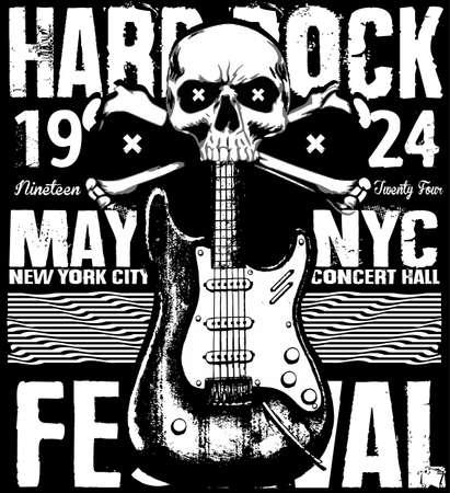 Rock poster grunge monochrome hipster vintage label , badge , flayer  hard rock  for poster or t-shirt print with electric guitar, lightning