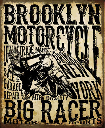old school bike: Motorcycle Racing Typography Graphics and Poster. Skull and Old school bike. T-shirt Design; vector illustration