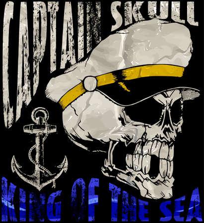 mercenary: Vector illustration of sailor skull T shirt Graphic Design