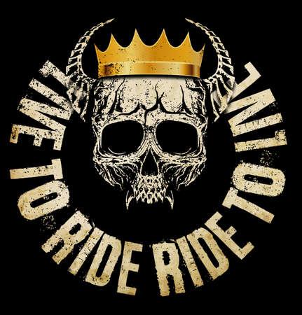 King Skull T shirt Graphic Design Vectores