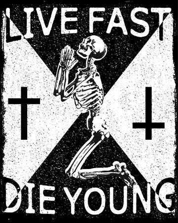 Ontwerp voor t-shirt druk met schedel en texturen. vector illustratie.