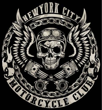 Skull T shirt Graphic Design Vettoriali