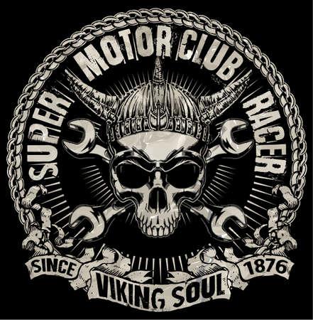 black star: Tee skull motorcycle graphic design