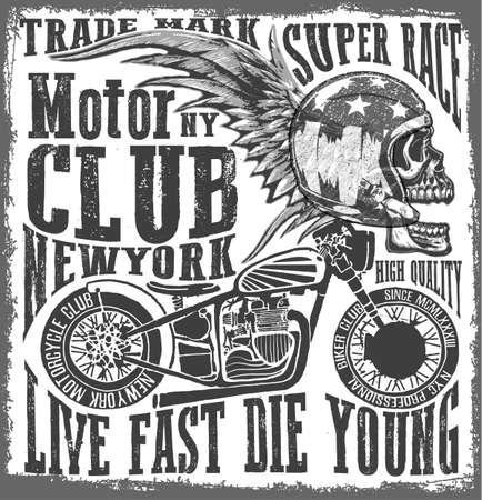tee: Tee skull motorcycle graphic design