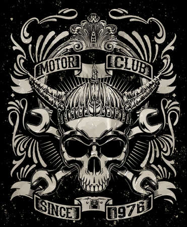 Tee skull motorcycle graphic design