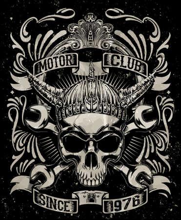 Tee schedel motorfiets grafisch ontwerp