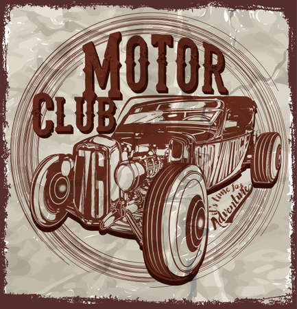imperfections: Old American Car Vintage Classic Retro man T shirt Graphic Design Illustration